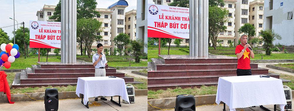 Trần Thanh Tuân CSV K9 Chủ tịch hội Cơ điện TP HCM, Nguyễn Văn Hùng CSV K10M Đại diện ban vận động xây dựng Tháp bút phát biểu