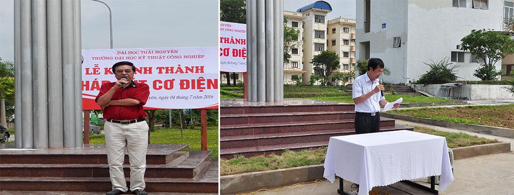 Lê Kim Thắng Chủ tịch Hội Cơ điện Hà Nội, Nguyễn Quốc Hùng Trưởng phòng QTPV trường lên phát biểu