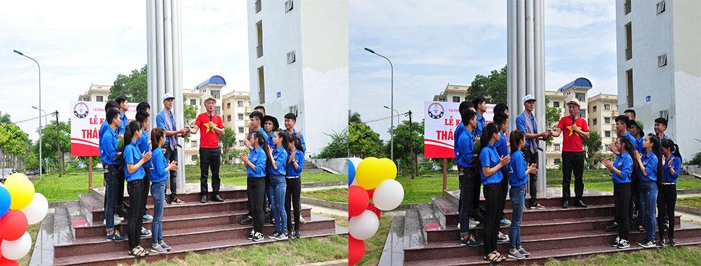 anh Nguyễn Văn Hùng, CSV K10M nói về ý nghĩa của tháp bút và trao gửi niềm tin cho các thế hệ đoàn thanh niên của Nhà trường
