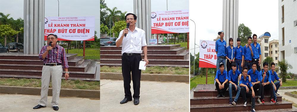 Một số CSV lên phát biểu tại buổi lễ, sinh viên tình nguyện chụp ảnh kỷ niệm tại chân tháp